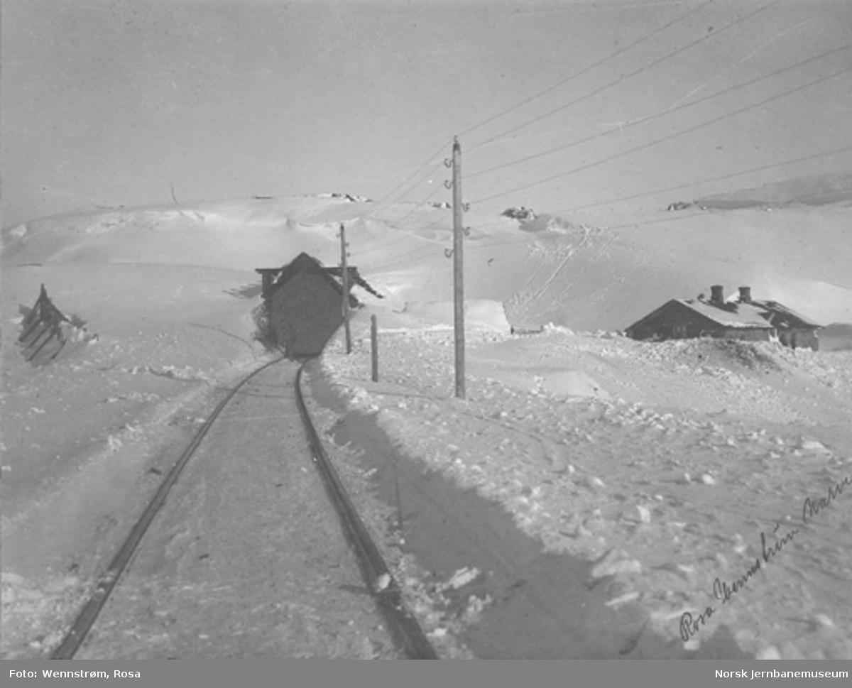 Parti fra Ofotbanen med snøoverbygg, snøskjerm og vokterbolig