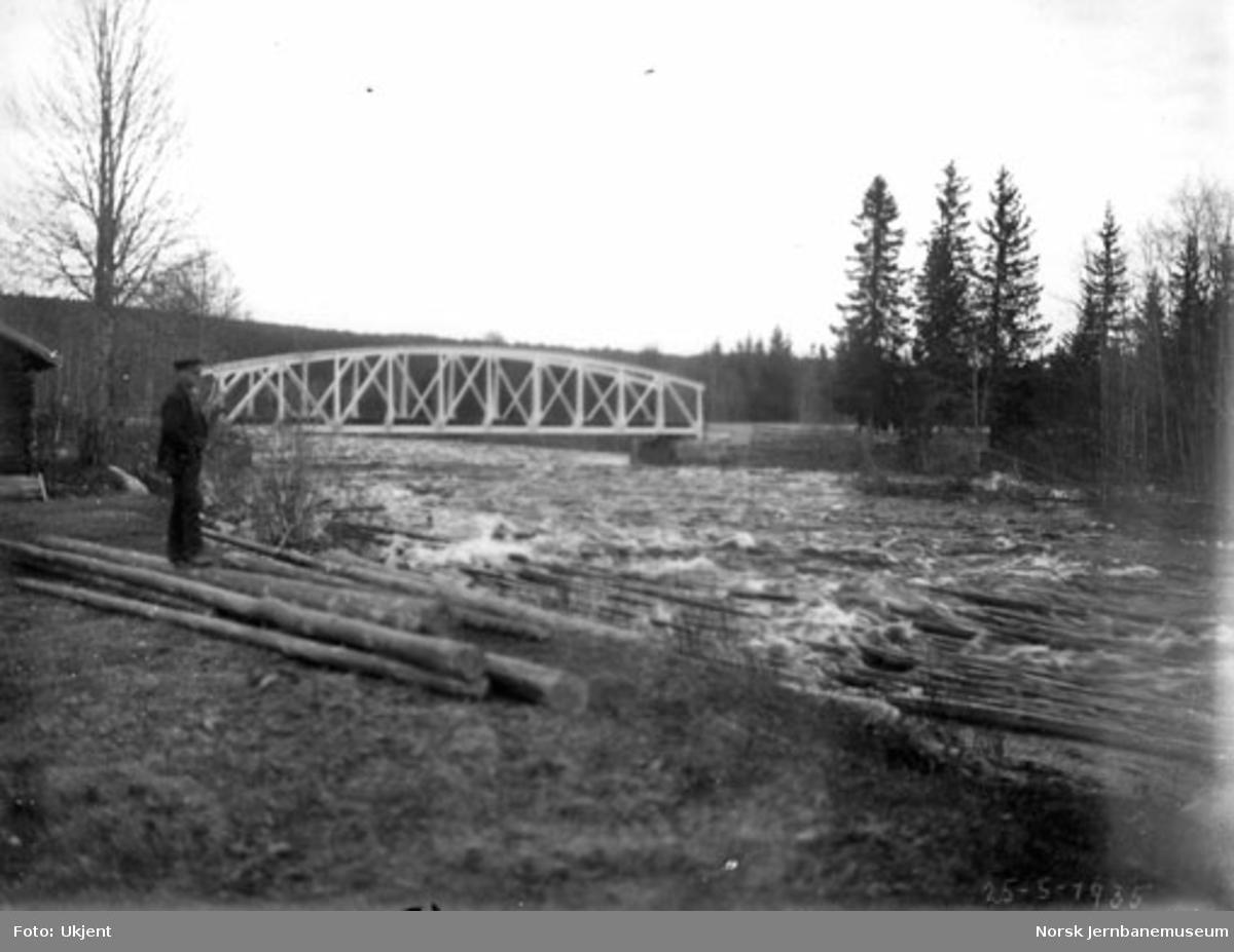 Tømmerfløting i Hovda elv med jernbanebrua i bakgrunnen