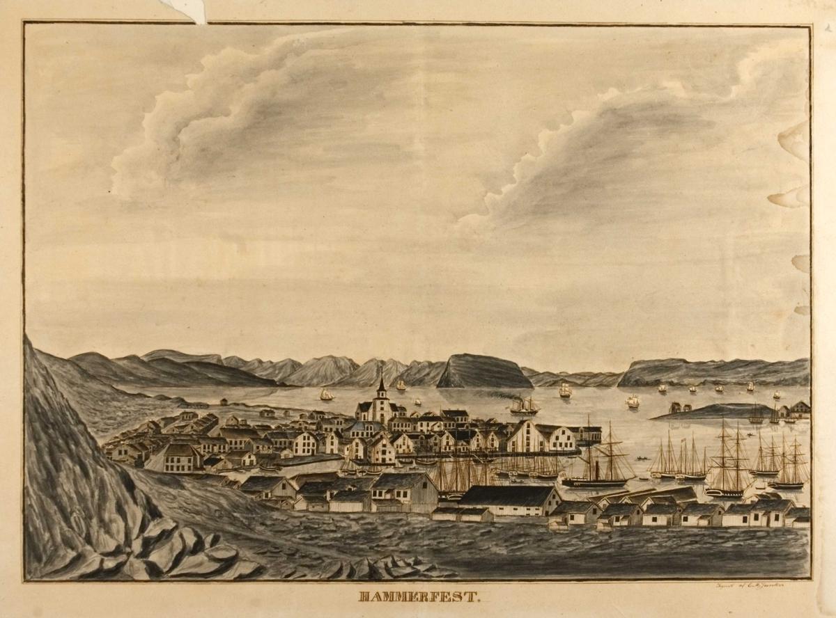 Kystlandskap med bybebyggelse, kirke og seilskuter