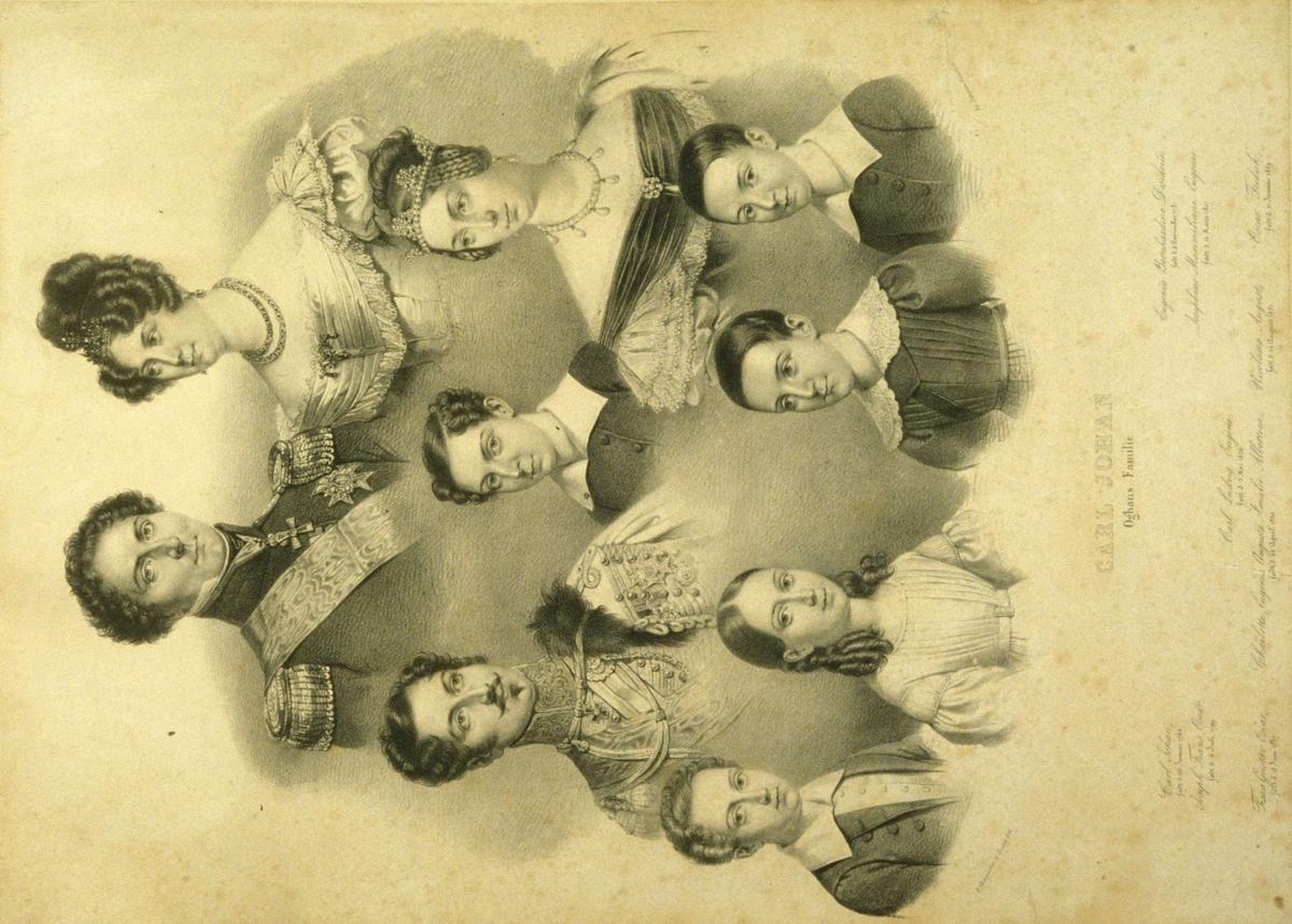 Portretter av Karl Johan og Desideria (Desireè), sønnen Oscar, svigerdatteren Josephine og deres fem barn.
