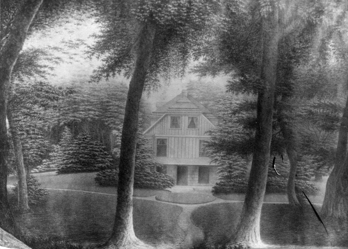 """Oslo. Tusjtegning sign. Peter Anker, 1810..Fra landstedet """"Rolighed"""" ved Vedbæk som tilhørte Carsten Anker.  """"Den Kulturhistoriske Udstilling i Kristiania 1901"""" på NF."""