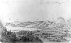 """Landvik, Aust-Agder. Fra skissealbum av John W. Edy, """"Drawi"""