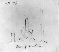 """Henrettelsessted?Fra skissealbum av John W. Edy, """"Drawings"""