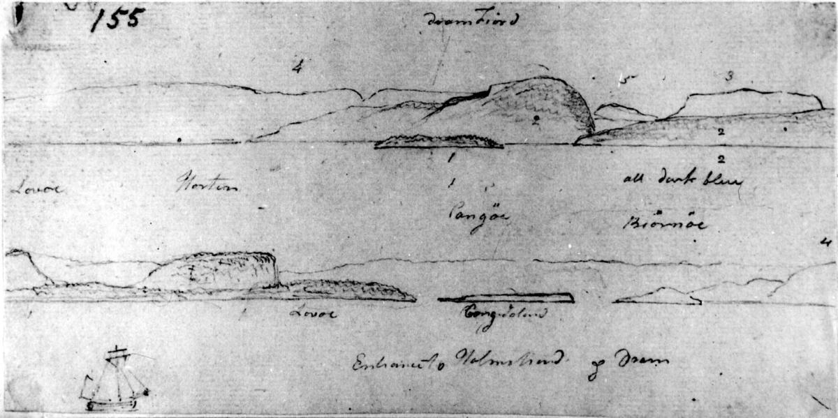 """Oslofjorden ved Vestfold. Blyantskisse av John Edy.Fra skissealbum av John W. Edy, """"Drawings Norway 1800""""."""