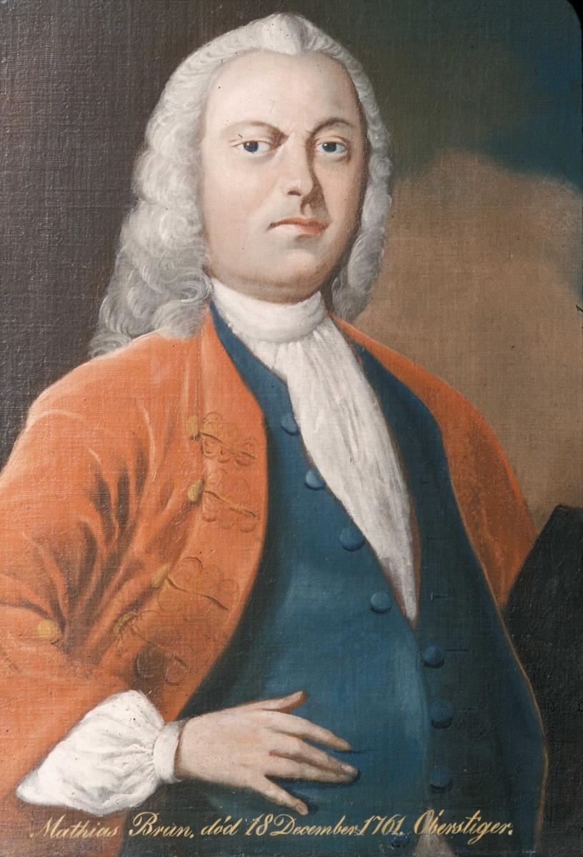Interiør fra Røros kirke.Portrett maleri av oberstiger Mathias Brun.