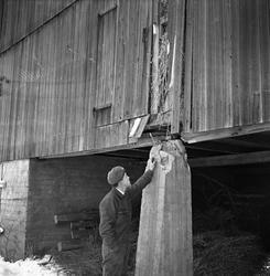 Gårdsbruk Sørum, mann utenfor uthusbygning, 29.11.1956