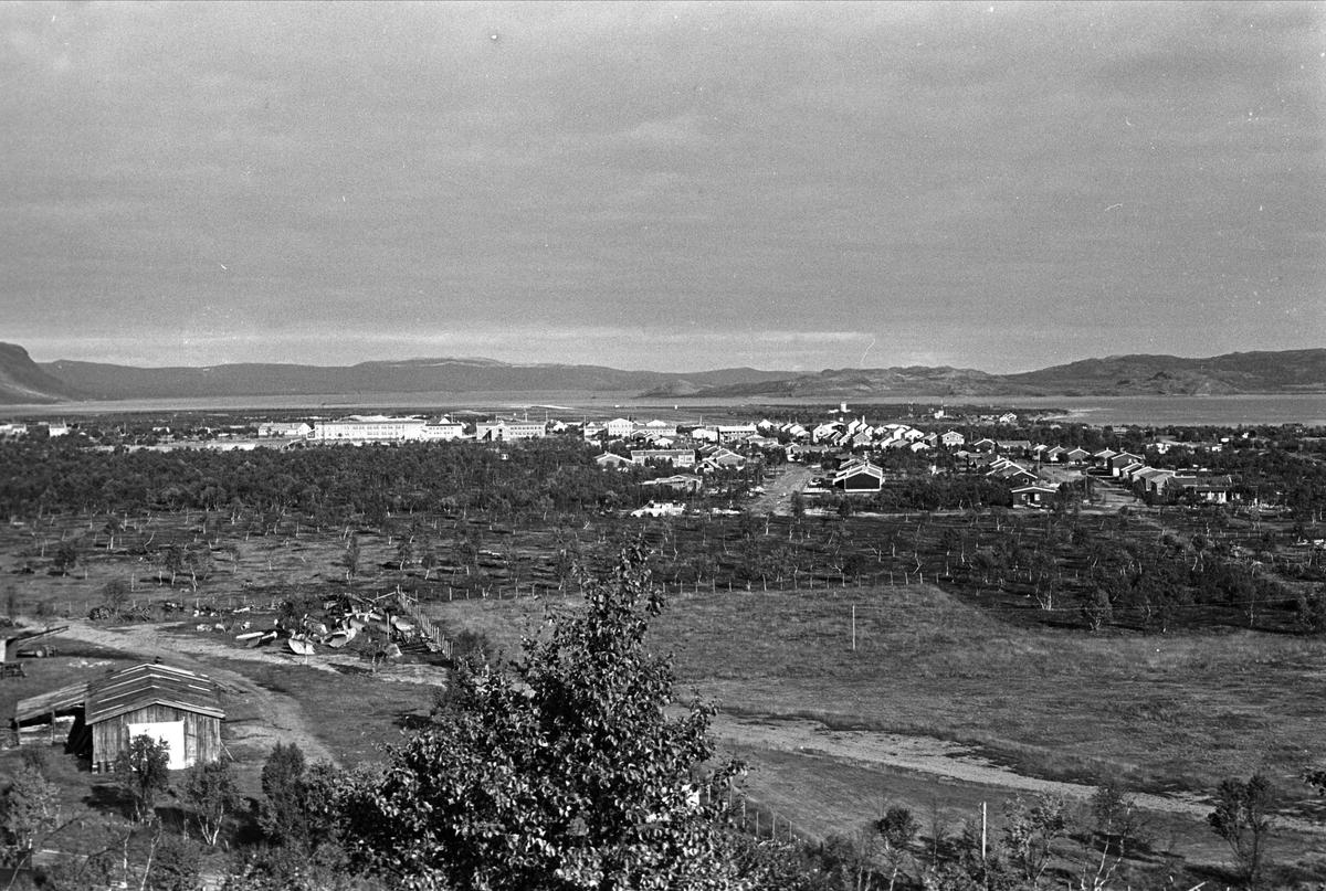 Lakselv, september 1968,  oversiktsbilde, naturen og Lakselv i bakgrunnen.