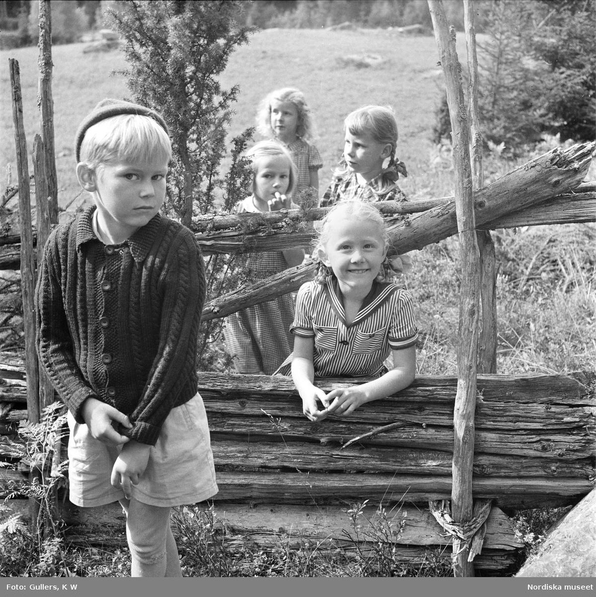 Barn ute i hage vid en gärdesgård.