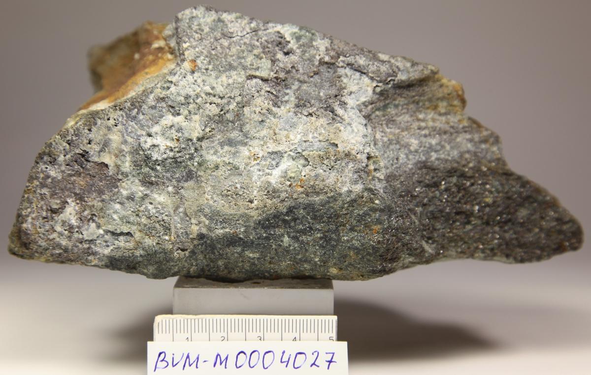 Gedigen sølv i 4-5 mm åre med mye sølv. Også litt sølv og små sinkblendekrystaller på sprekkeflate på motsatt side. Skjerp, 450 m syd for Ramberg skjerp.