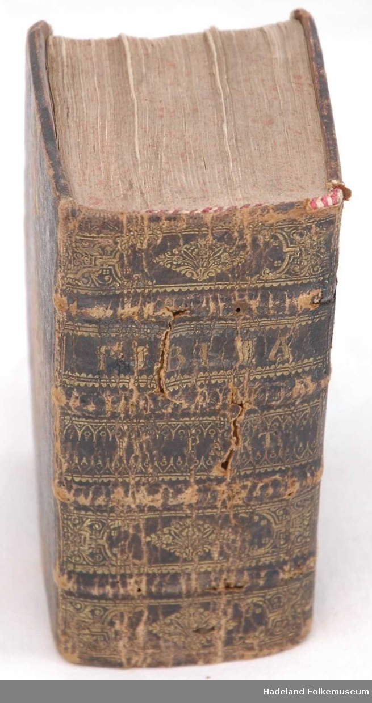 Skinnkledt treplate, ryggen preget og gullforsiret