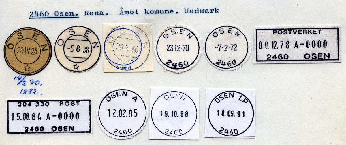 Stempelkatalog  2460 Osen, Åmot kommune, Hedmark
