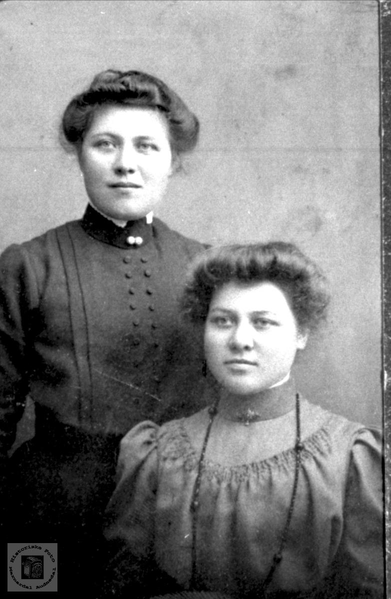 Portrett av søstrene Karoline og Ragnhild Valand, Bjelland.