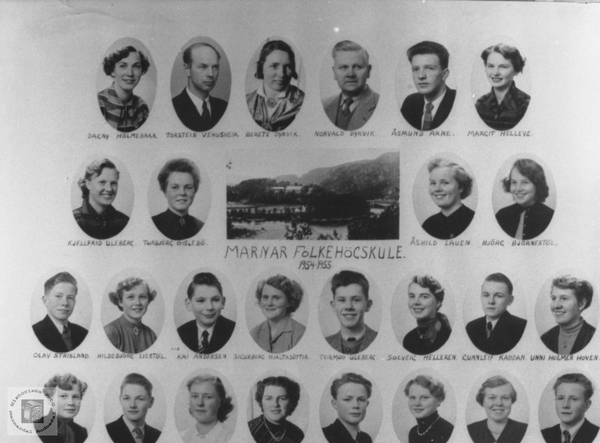 Marnar Folkehøgskole 1954-1955. Øyslebø
