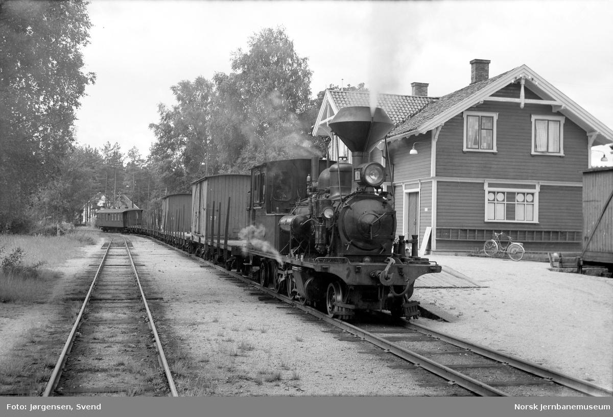 Damplokomotiv nr. 2 foran godstog 5661 på Hornnes stasjon