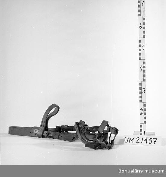 412 Förvärvstillst OANVÄNT  Huvudlag bestående av läderremmar samt ett bett till munnen av järn. Föremålet förefaller vara oanvänt. Bettet är överflyttat från ett äldre betsel. Tyglar saknas.