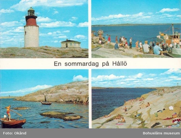 """Tryckt text på kortet: """"En sommardag på Hållö"""".  """"Förlag och ensamrätt: AB H. Lindenhag, Göteborg""""."""