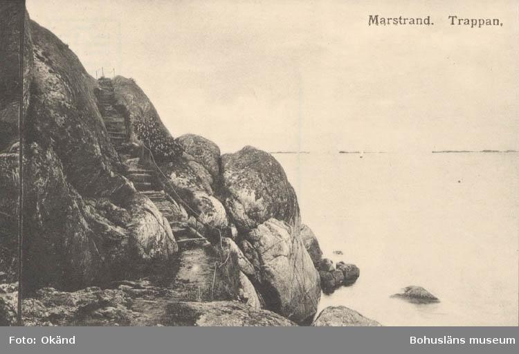 """Tryckt text på kortet: """"Marstrand. Trappan."""" ::"""