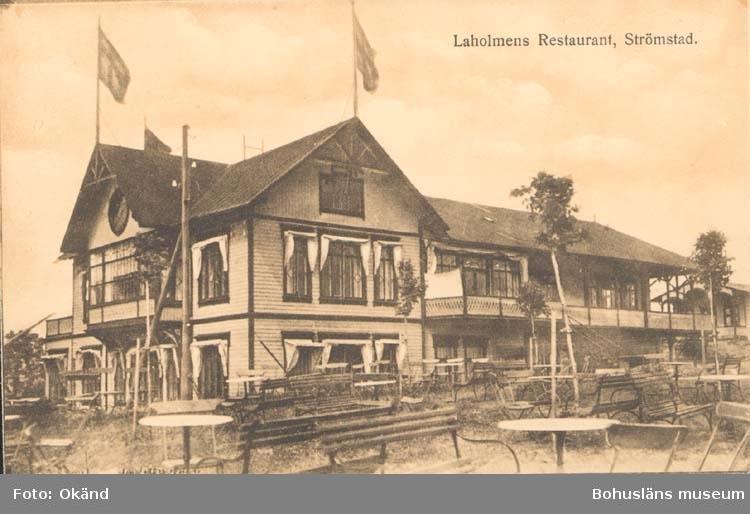 """Tryckt text på kortet: """"Strömstad. Laholmens Restaurant."""" ::"""