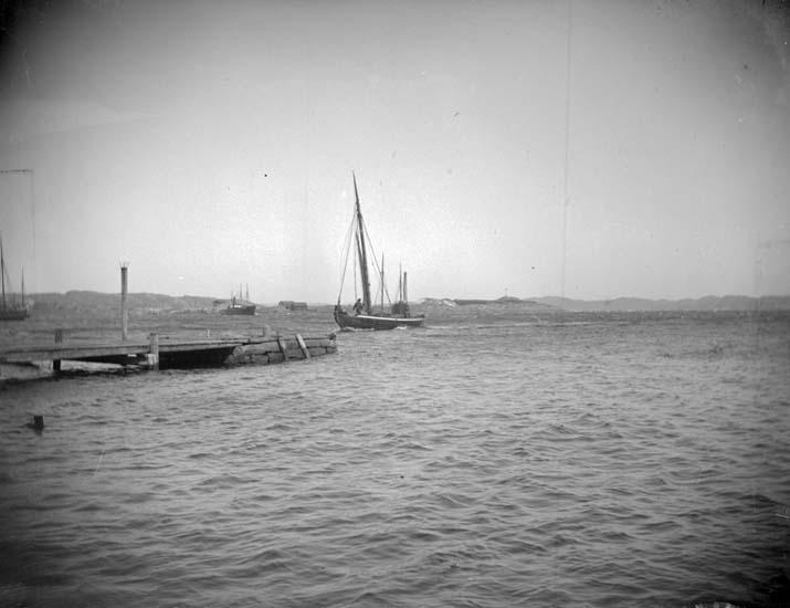 """Enligt text som medföljde bilden: """"Lysekil. Bryggarebåten lägger till vid Lyckes brygga."""""""