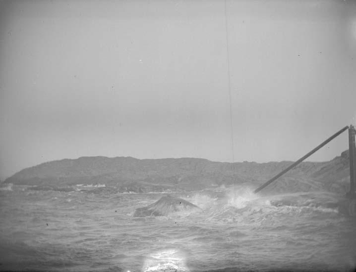 """Enligt text som medföljde bilden: """"Lysekil. Vid Stångehufud i storm 1898""""."""