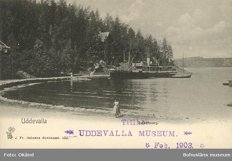 """Tryckt text på vykortets framsida: """"Uddevalla."""""""