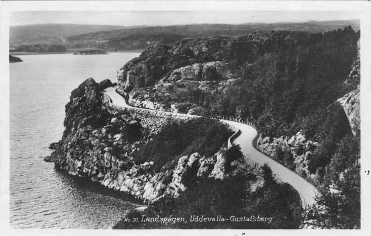 """Tryckt text på vykortets framsida: """"Landsvägen, Uddevalla - Gustafsberg."""""""