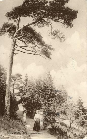 """Tryckt text på vykortets framsida: """"Gustafsberg Strandpromenaden."""""""