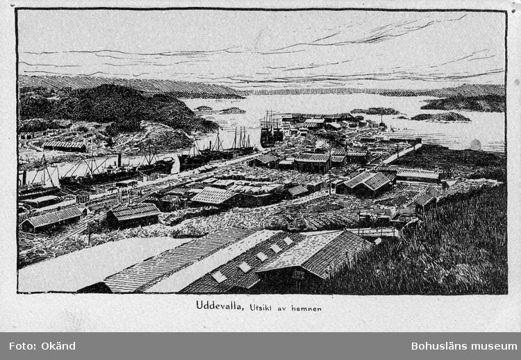"""Tryckt text på vykortets framsida: """"Uddevalla. Utsikt av hamnen"""".  ::"""
