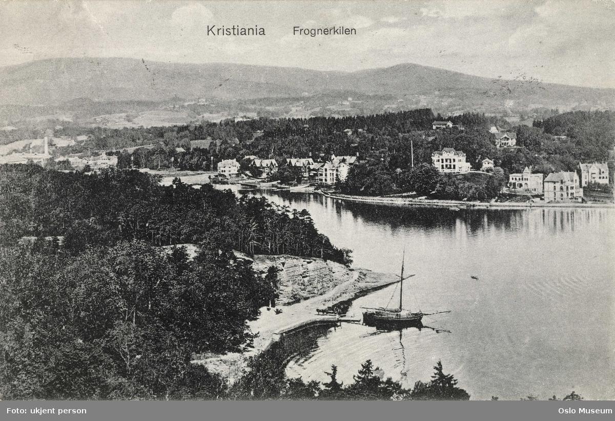 fjord, seilfartøy, villabebyggelse, skog