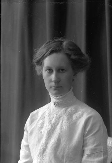 """Enligt fotografens journal nr 2 1909-1915: """"Svensson, Agda, Grindstorp, Spekeröd""""."""