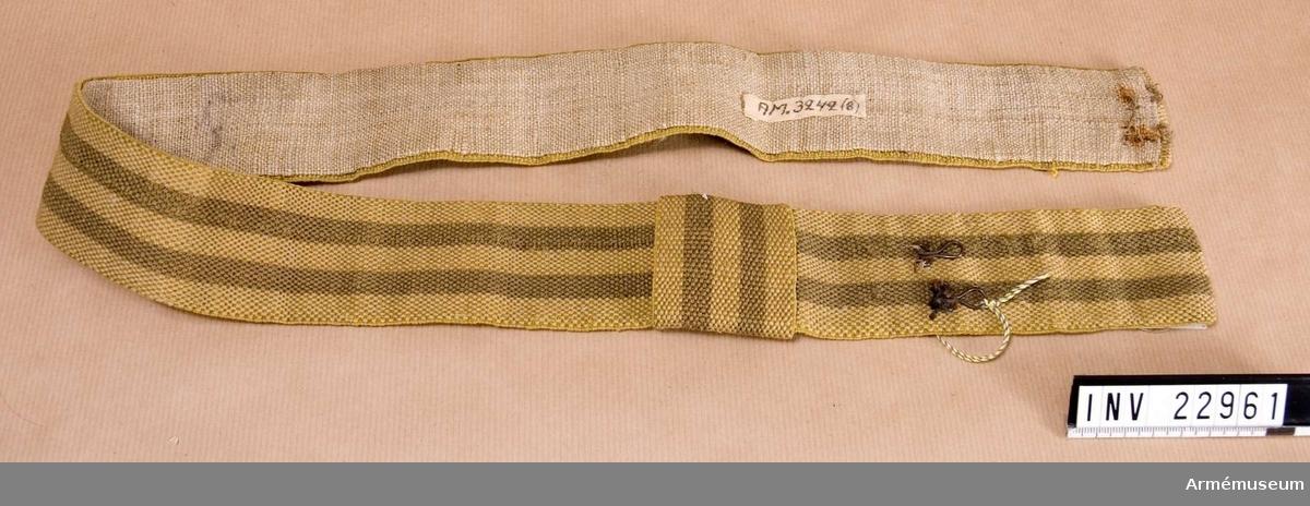 Grupp C I. Ur uniform för manskap vid K.Smålands grenadjärbataljon; 1838-45. Skärp, fastställt enligt generalorder 11/9 1824.