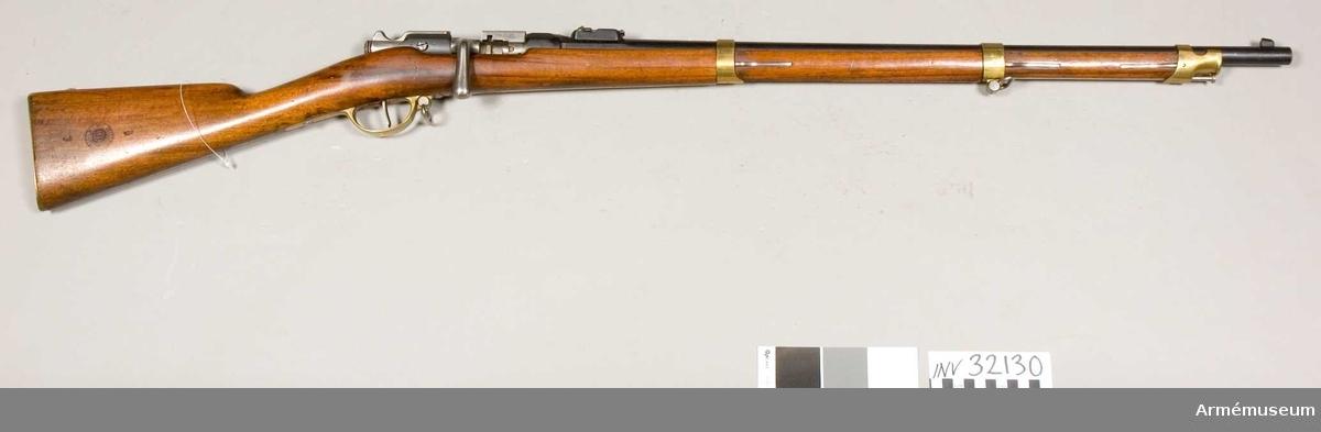 Grupp E II Loppets relativa längd: 63 kaliber. Kulvikt: 25 gram. För kavalleriet; med Gras mekanism för centralantändning. Generalfälttygmästarexpeditionens skrivelse 30/11 1906 dnr 1686.