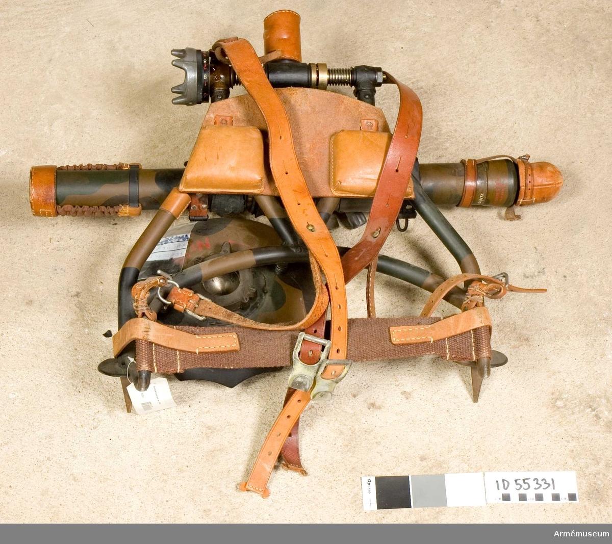Grupp E X b.  47 mm granatkastare m/1940, system KAFT. Mått: Eldrörets vikt           2,9 kg  Totalvikt               11,7 kg  Loppets längd           60   cm  Eldrörets yttre längd   66,9 cm  Största skottvidd        480 m