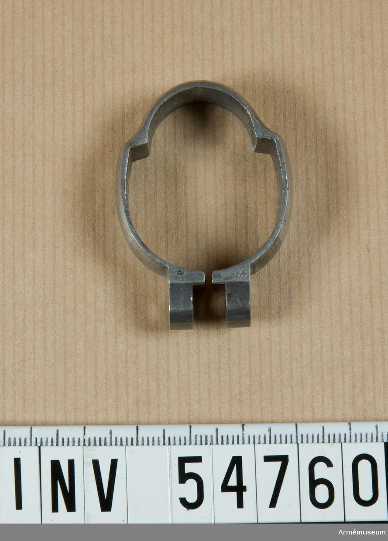 Grupp E VIII.  Nummer 14 i tillverkningsordningen. Gevärsdel till 1867 års gevär m/1867, en av c:a 400 delar.