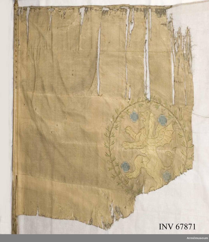 Duk: Tillverkad av enkel röd sidenkypert. Sydd av tre horisontella våder.  Dekor:  Broderad lika på båda sidor, i mitten Östergötlands sköldemärke, en grip (drake) av gult silke och applicerat siden följd av fyra rosor blått silke och applicerat  siden, omgivna av en krans av två lager kvistar i brunt silke medgröna blad och bär i gult silke. Upptill och nedtill hopknutna, nedtill med en gul rosett.   Duken kantad med en röd silkessnodd. Fäst vid stången med förgyllda spikar på rött sidenband.   Stång av rödmålad furu. Mässingsförlängning.
