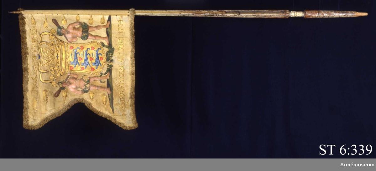 Inre och yttre sidorna lika. Det danska riksvapnet; en krönt sköld med tre blå lejon och nio röda hjärtan. I kronan finns spegelmonogramet F4 =Frederik 4 (Fredrik IV)) inflätat. På ömse sidor om vapnet vildmän och gyllene flammor. På marken en grön drake eller salamander