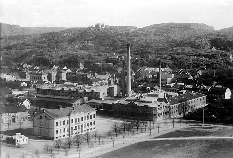 """Enligt tidigare notering: """"Vy från Kålgårdsberget över Margretegärde och Tändsticksfabriken."""""""