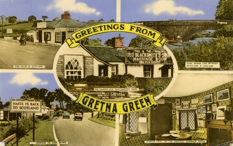 Notering på kortet: Greetings from Gretna Green.