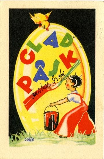 """Kort: """"Glad Påsk önskar Greta"""". Barn som målar ett påskägg."""