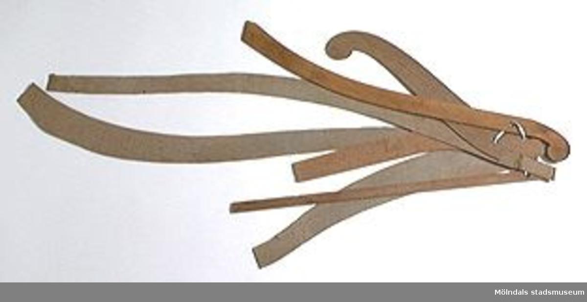Möbelmall av mahognyfanér, troligtvis detalj till soffa. En av sju mallar (med Mölndals museums föremålsnummer 00247-00253), ihopsatta med snöre. Litteratur: Red. Särnstedt Bo, Lindome Västsvenskt möbelsnickeri under 300 år, Stockholm 1977. Utställningskatalog från Liljevalchs Konsthall 1977-06-30-1977-09-11. Se sid 22-23 för historik kring fam. Thorsson.Mölndals Museum Lindomemöbler, Länstryckeriet Göteborg 1994. Utställningskatalog innehållande kapitel rörande familjen Thorssons verksamhet.