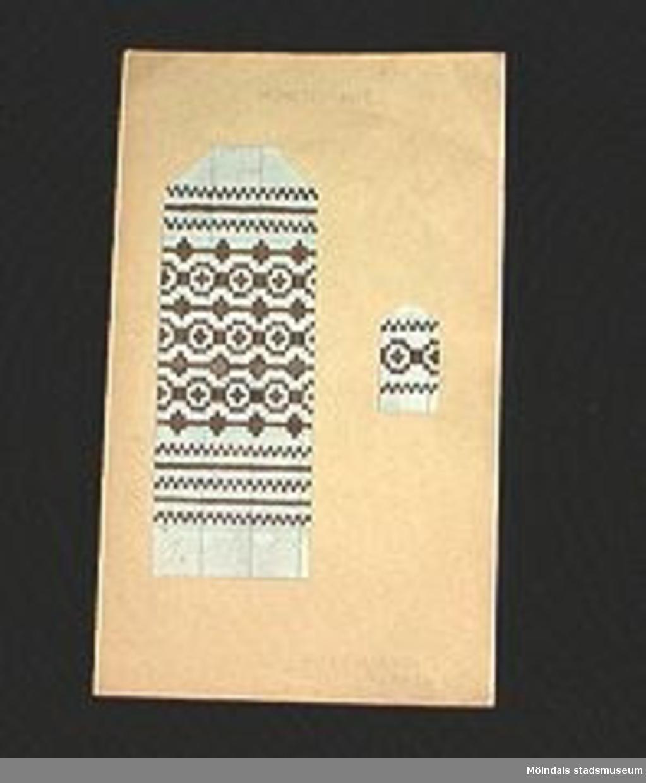 """""""MÖNSTERVANTE"""". Rutat papper färglagt i brunt mönster uppklistrat på papp.Elevarbete från textillärarseminariet.Gåvan förmedlad genom Gustav Wickström."""