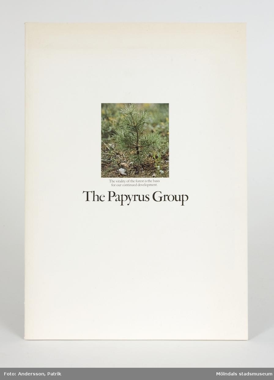 """Broschyr som i text och bild beskriver Papyrus och The Papyrus Groups verksamhet, på engelska.Pärmarna är av vit papp med en bild på ungt granskott, samt texten"""" The vitality of the forest is the basis for our continued development. The Papyrus Group""""."""