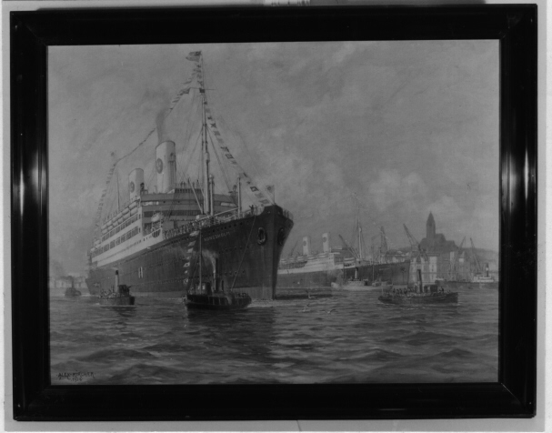 """Det första motorfartyget med namnet """"Kungsholm"""" på utgående ur Göteborgs hamn vid sin första tur år 1928."""