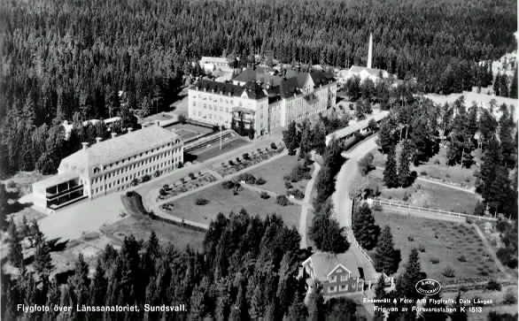 Länssanatoriet i Sundsvall, flygfoto.