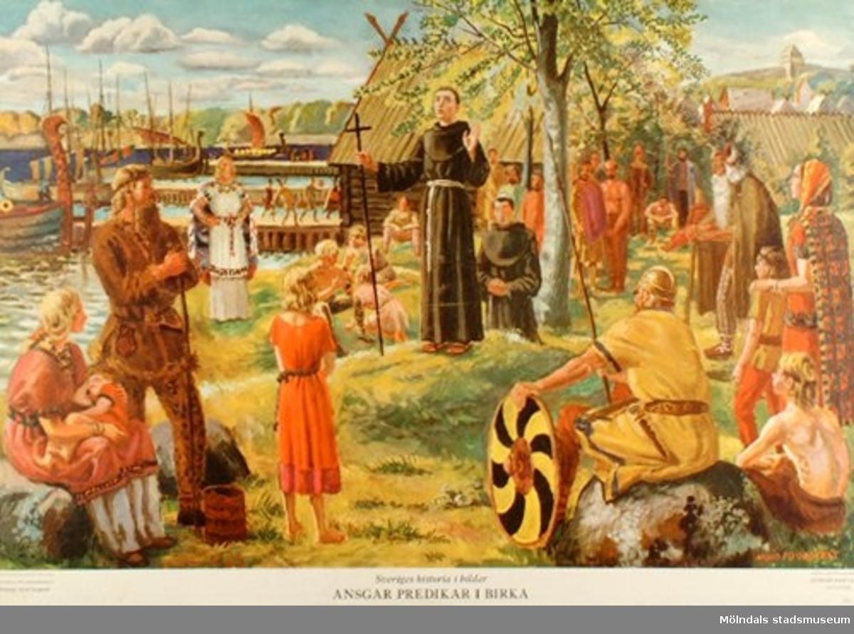 :1: Ansgar predikar i Birka.:2: Torgny Lagman på tinget.:3: Bernadottes ankomst till Sverige.