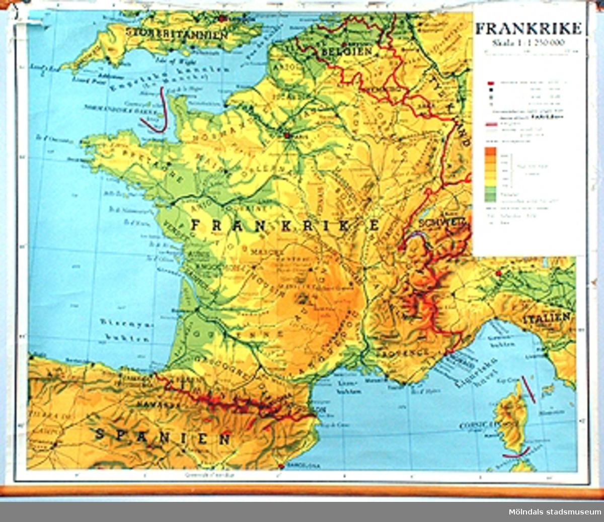 Skolkarta märkt nr 36.Frankrike.
