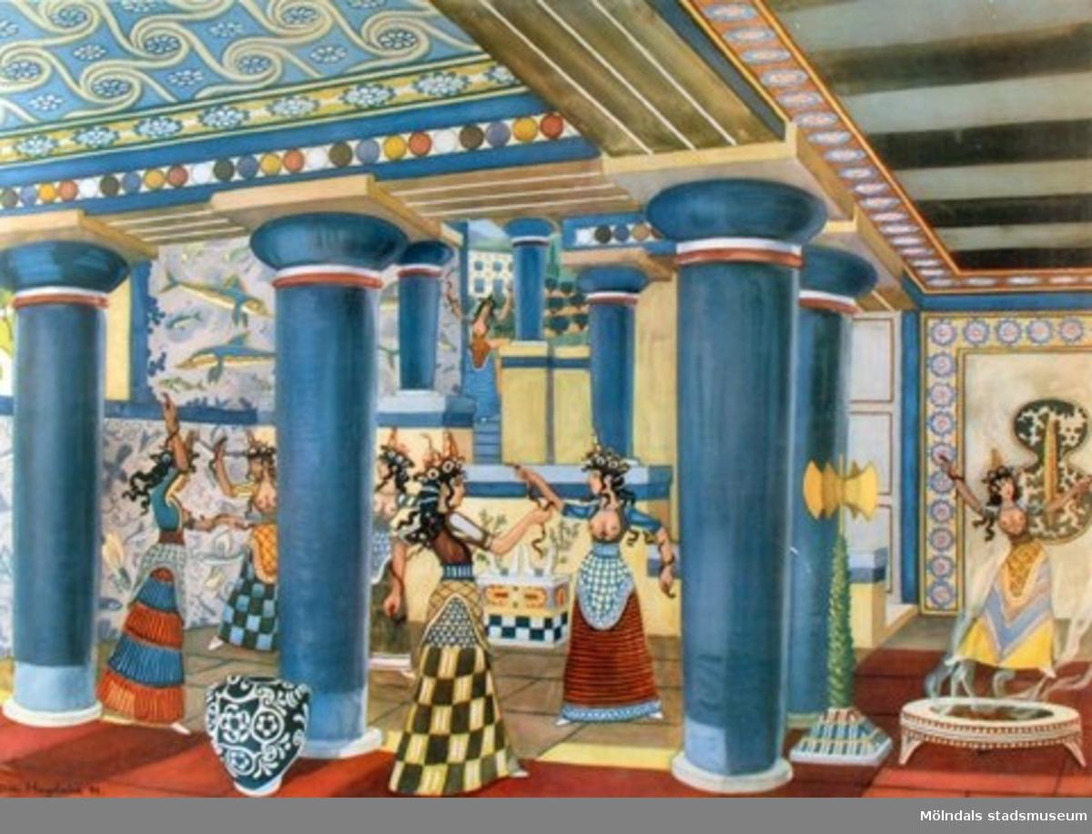 Historia.Tempeldans på Kreta.Original: Olle Hagdahl 1949.Hälsingborgs litografiska AB.