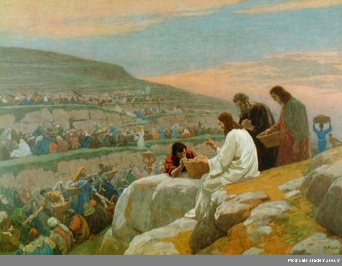 Kristendomskunskap:Jesus bespisar 5000 män.Bibeln i bild nr. 28.Konstnär: G. Fugel.
