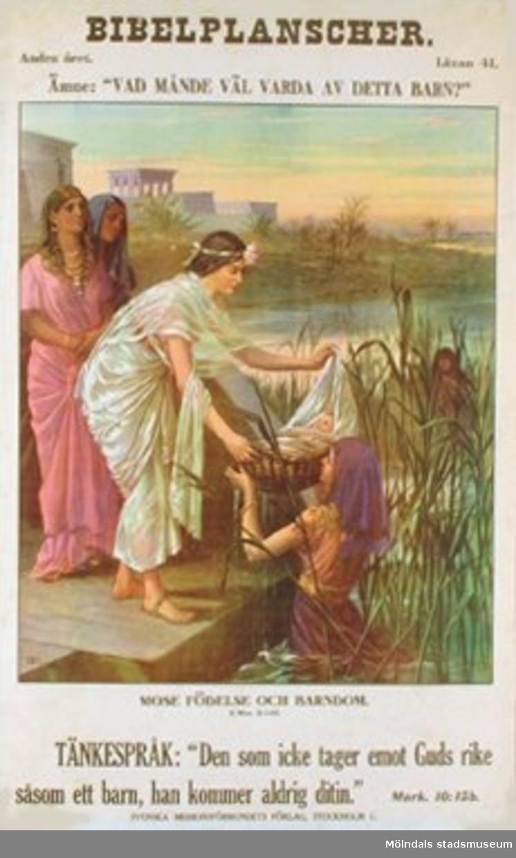 """Kristendomskunskap.Bibelplanscher: """"Vad månde väl varda av detta barn?""""Mose födelse och barndom (2 Mos. 2:1-10)."""