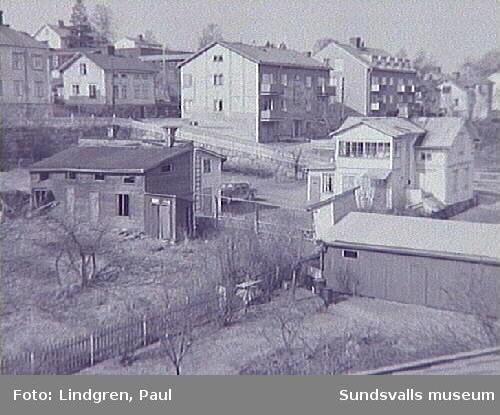 Vy över Södermalmsgatan - Pilgränd.